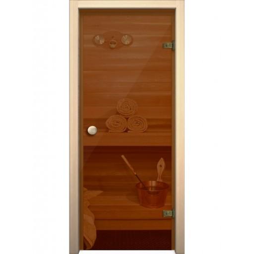 Стеклянная дверь для бани Akma стекло бронза прозрачное