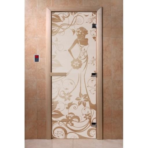 """Стеклянная дверь для бани Doorwood 700х1900 мм """"Девушка в цветах"""", бронза"""