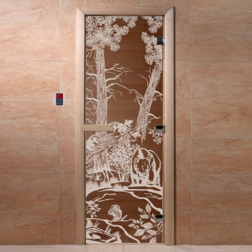 Стеклянная дверь для бани Doorwood 700х1900 мм (бронза)