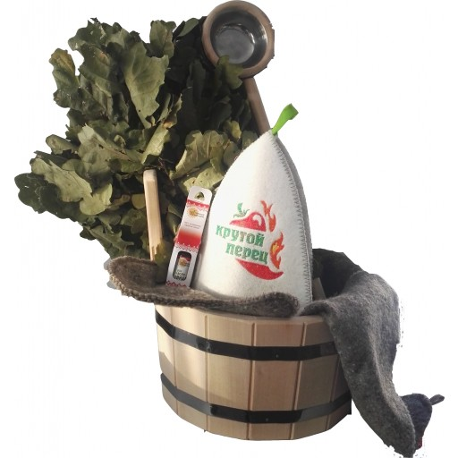 """Набор """"Крутой перец"""" (веник дубовый, шапка, коврик-войлок, масло, шайка, черпак)"""