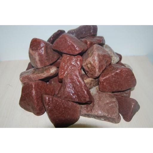 Камень для бани малиновый кварцит,обвалованный коробка 20 кг
