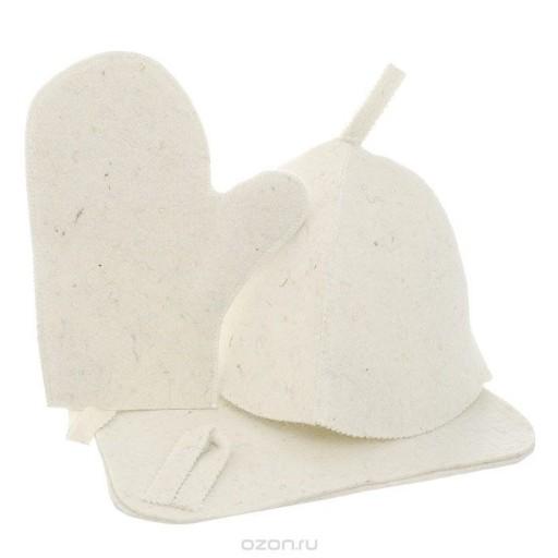 Набор для бани и сауны три предмета (шапка,коврик,рукавица) войлок 100%