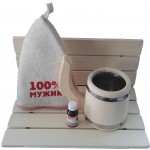 Набор для бани 100% мужик (сидушка, кружка, масло, шапка)