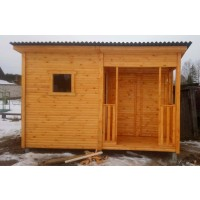 Туалет-душ-хозблок три в одном для дачи 4х2 метра с террасой