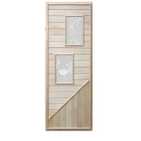 Деревянная дверь для бани Doorwood 750х1850 мм (два стекла)