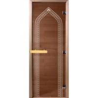 Стеклянная дверь DOORWOOD 700*1900 мм (теплый день, бронза) с рисунком