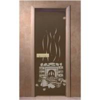 """Стеклянная дверь для бани DOORWOOD 700*1900 мм с рисунком """"БАНЬКА"""""""