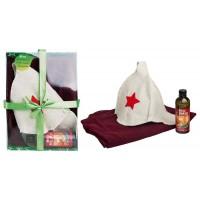 Набор для бани и сауна на три предмета (накидка, шапка Буденовка ,ароматизатор Вкусный пар)