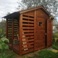 Душ-туалет (хозблок, сарай) с дровницей 3х2 м для дачи, сада