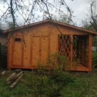 Бытовка (хозблок, туалет) садовая №10 5х3 метра с террасой
