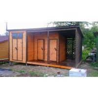 Хозблок 6х3 метра с террасой три в одном  (туалет, душ, хозблок)